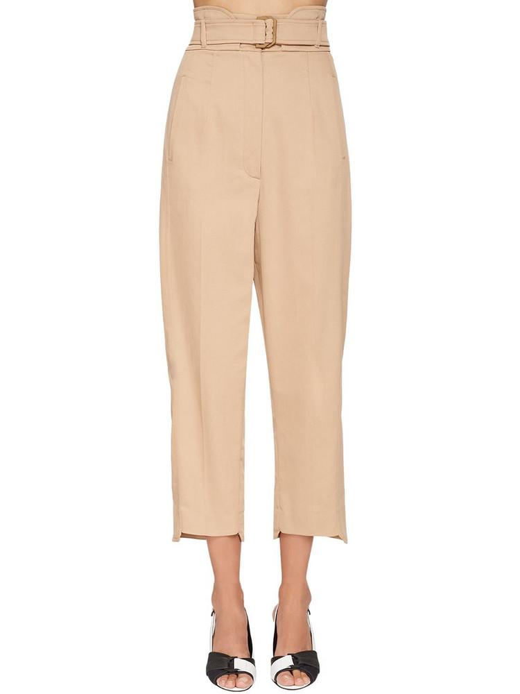 SPORTMAX High Waist Cotton Gabardine Cargo Pants in beige