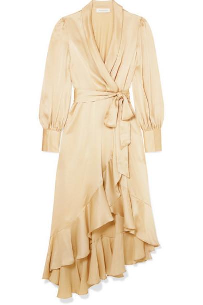 Zimmermann - Super Eight Ruffled Silk Wrap Midi Dress - Cream