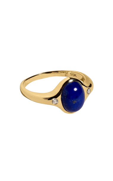 Pamela Love Mini Essential 10kt Yellow-Gold, Lapis and Diamond Ring in blue