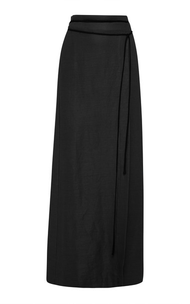 Bondi Born Wrap Cellulose And Flax Maxi Skirt in black