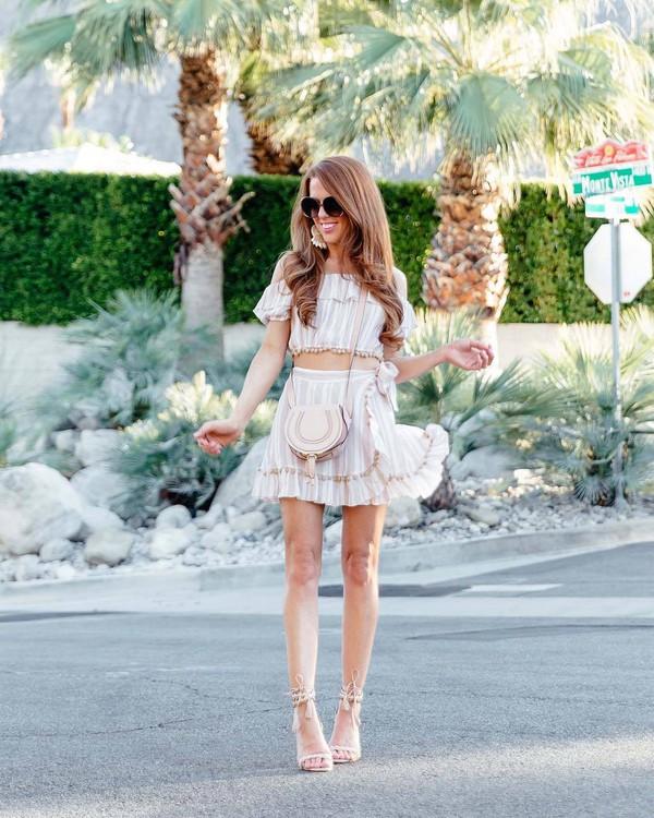 skirt mini skirt wrap skirt striped skirt crop tops off the shoulder top sandal heels bag