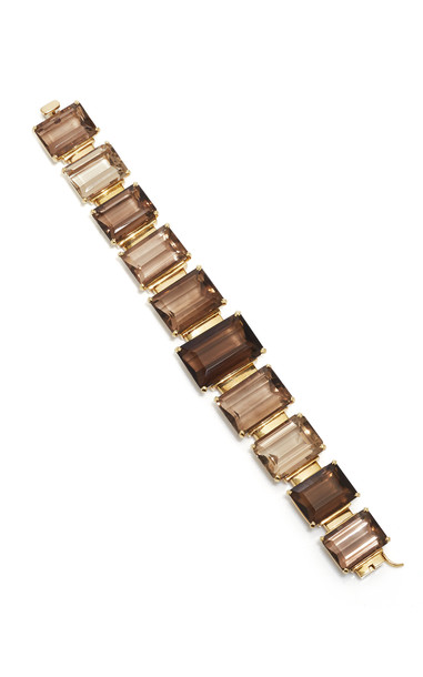 Tony Duquette One of a Kind 18K Yellow Gold and Smoky Quartz Ring in brown