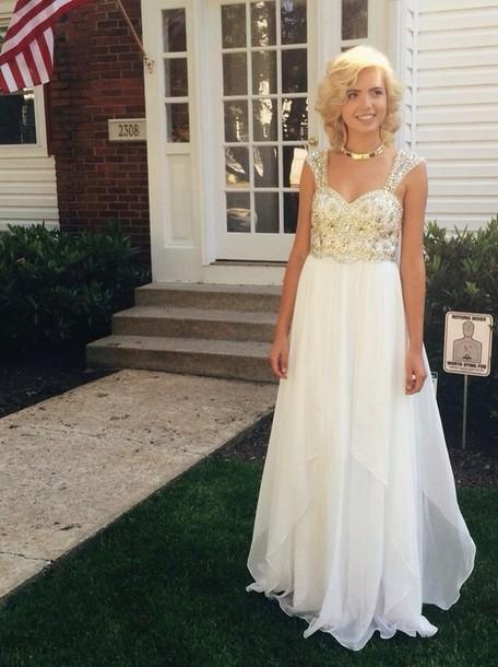 dress prom dress white prom dress gold sequins dress gold sequins jewels
