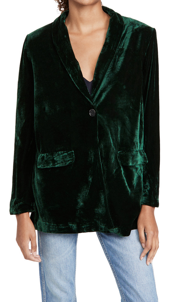 endless rose Velvet Single Breasted Blazer in green