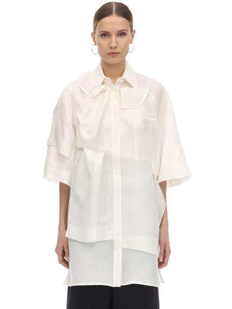 NINA RICCI Layered Asymmetric Silk Shirt in beige