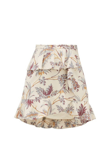 Sir - Avery Floral Print Ruffle Silk Mini Skirt - Womens - Multi