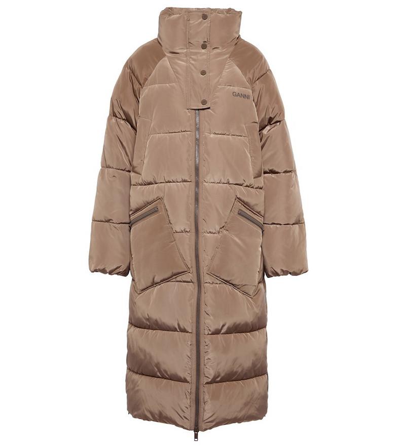 GANNI Puffer coat in neutrals