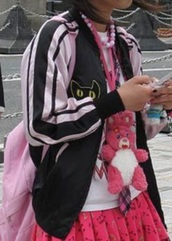 jacket,satin bomber,pink and black,cats,cat face