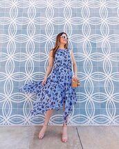 dress,floral dress,asymmetrical dress,sleeveless dress,blue dress,sandal heels,shoulder bag