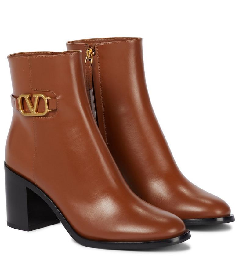 Valentino Garavani VLOGO leather ankle boots in brown