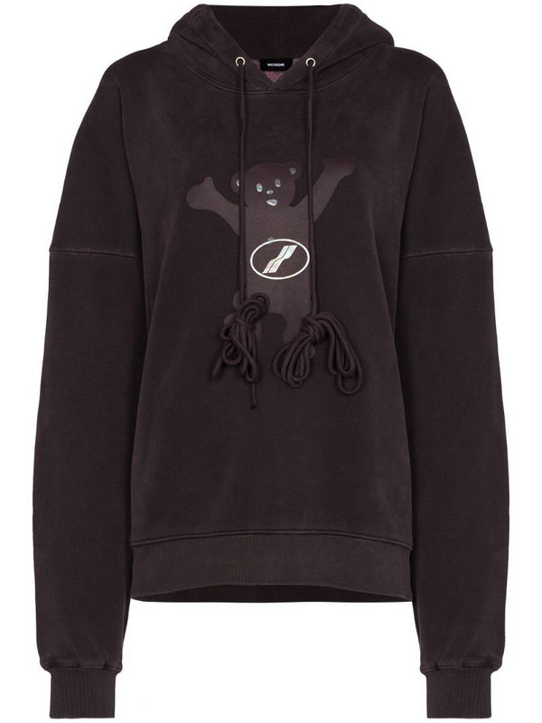 We11done Teddy-print hoodie in purple