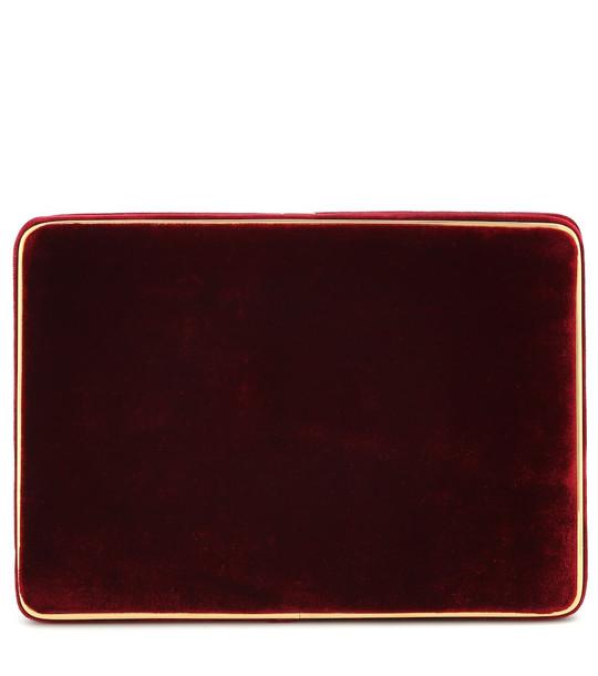 Hunting Season Square velvet clutch in red
