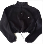 jacket,sportswear,hoodie,vest,coat,black,black and white,white,top,nike,nike jacket,crop tops,cropped,cropped jacket,cropped sweater,cropped hoodie,zip,sporty,nike sportswear