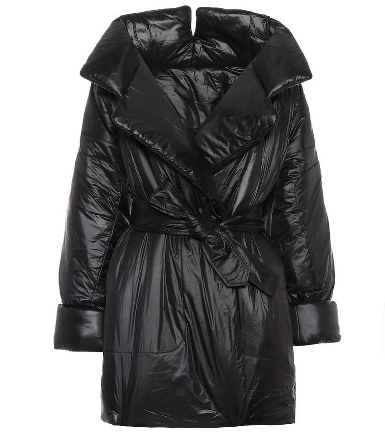 Norma Kamali Sleeping Bag belted nylon coat in black