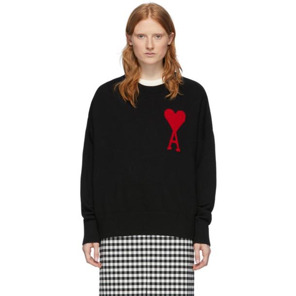 AMI Alexandre Mattiussi Black Oversized Ami De Coeur Sweater