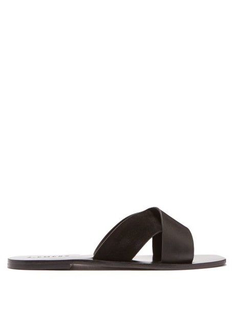 A.emery - Ada Cross Strap Leather And Suede Slides - Womens - Black