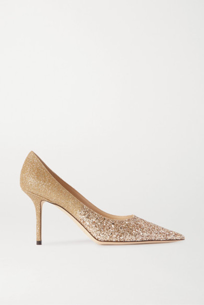 Jimmy Choo - Love 85 Glittered Leather Pumps - Gold