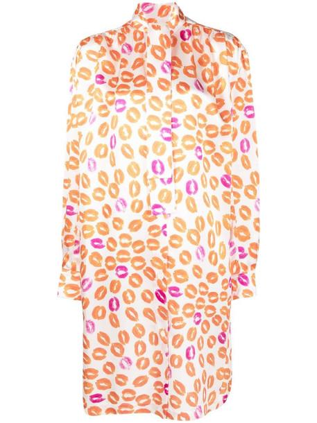 Marni lip-print long-sleeve dress in white