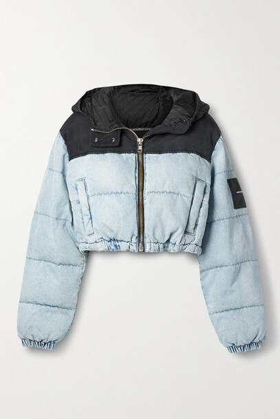 Alexander Wang - Cropped Quilted Padded Denim And Canvas Jacket - Blue