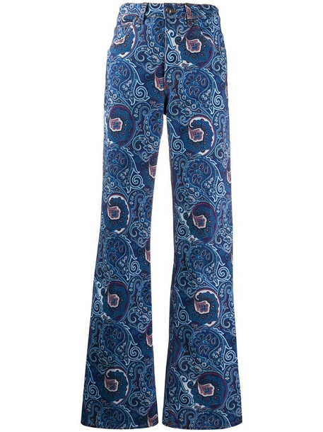 Etro paisley print flared jeans in blue
