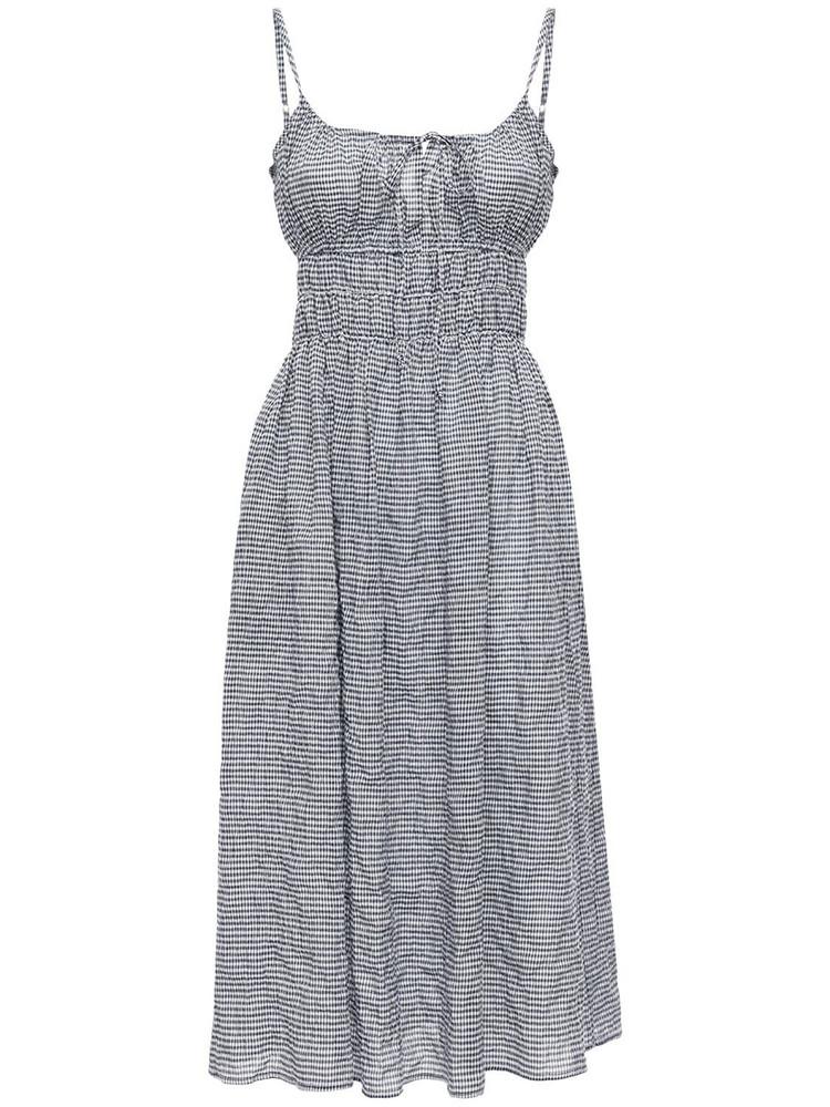 CIAO LUCIA Gabriela Cotton Blend Gingham Mini Dress in black / white