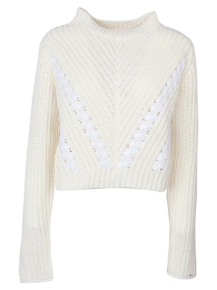 3.1 Phillip Lim Phillip Lim Cropped Knitted Jumper in white