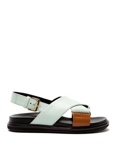 Marni - Fussbett Python Effect Leather Sandals - Womens - Light Green