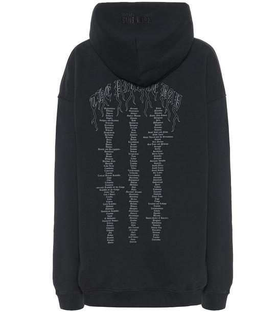 Vetements Printed cotton blend hoodie in black