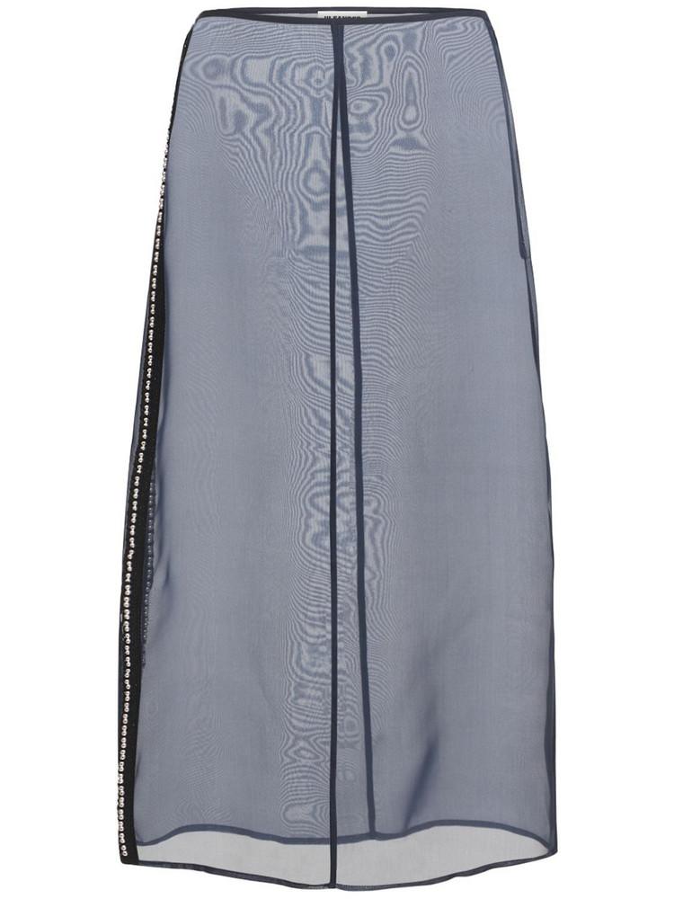 JIL SANDER Silk Organza Skirt in blue