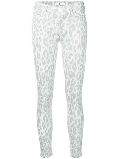 7 For All Mankind leopard print skinny jeans in grey