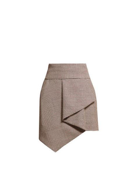 Alexandre Vauthier - Gun Club Draped Houndstooth Wool Skirt - Womens - Burgundy Multi