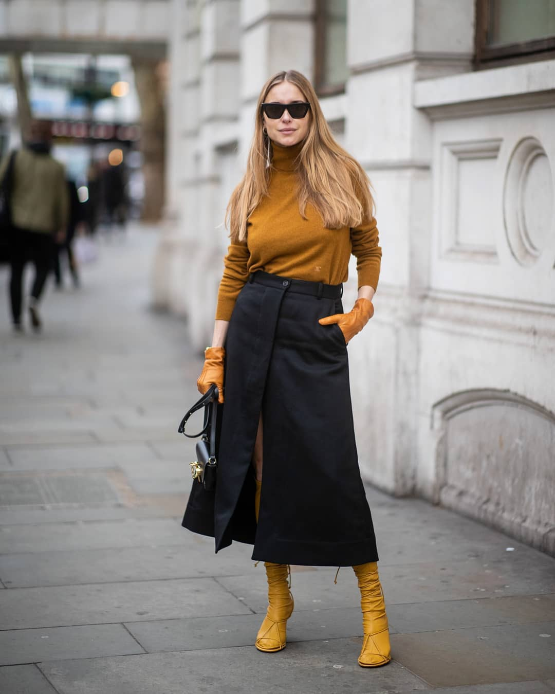 sweater turtleneck sweater mustard high waisted skirt navy skirt slit skirt midi skirt celine sandals knee high socks gloves navy