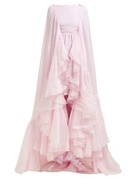 Giambattista Valli - Cape Sleeved Ruffled Silk Chiffon Gown - Womens - Pink