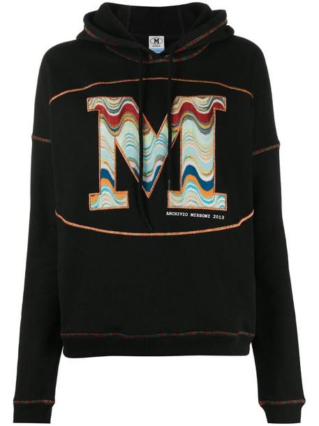M Missoni logo-embroidered drawstring hoodie in black