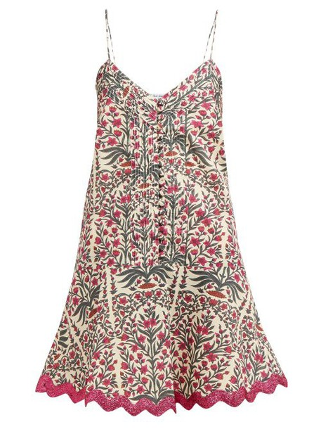 Juliet Dunn - Floral Print Rick Rack Trim Cotton Mini Dress - Womens - Dark Pink