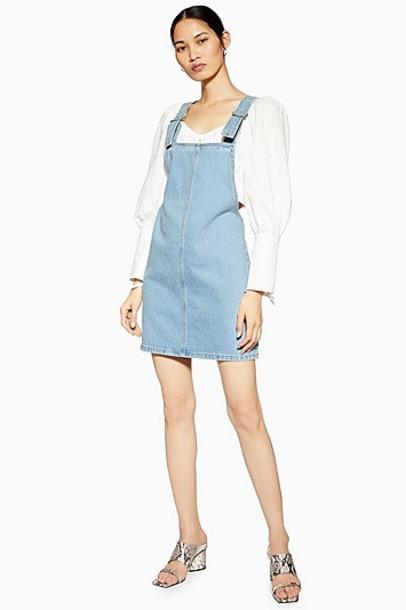 Topshop Petite Denim Pinafore Dress - Mid Stone
