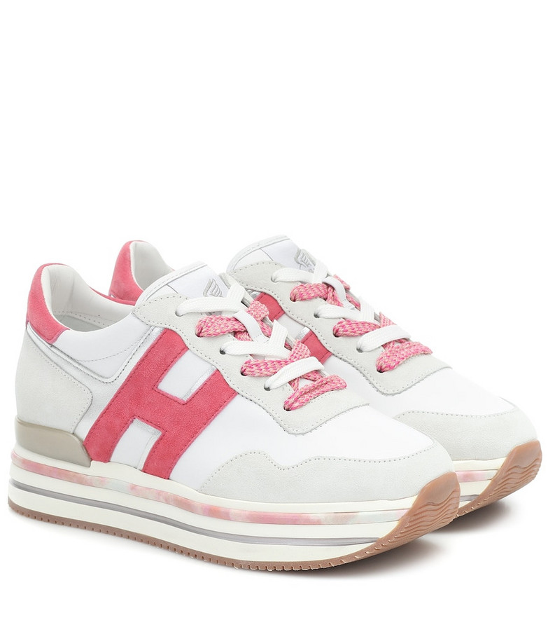 Hogan H515 leather platform sneakers in white