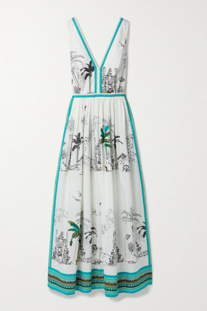 Le Sirenuse Positano - Sophia Printed Cotton-poplin Maxi Dress - White