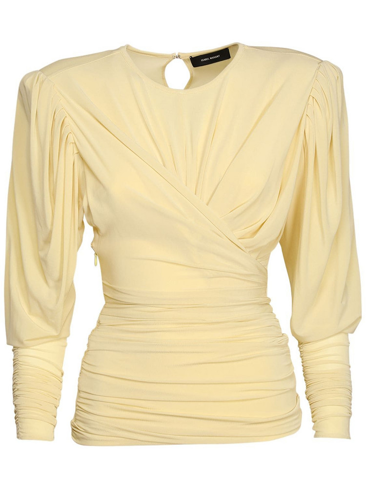 ISABEL MARANT Gimli Ruched Stretch Jersey Top in yellow