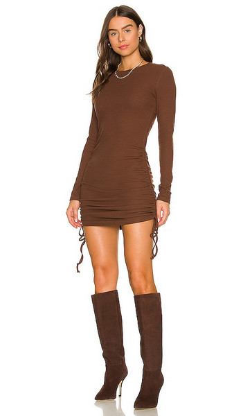 BCBGeneration Long Sleeve Drawstring Dress in Brown in chocolate