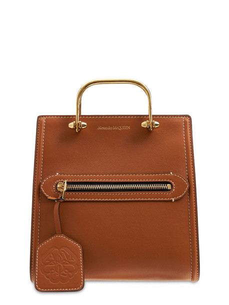ALEXANDER MCQUEEN The Short Story Leather Tote Bag in tan
