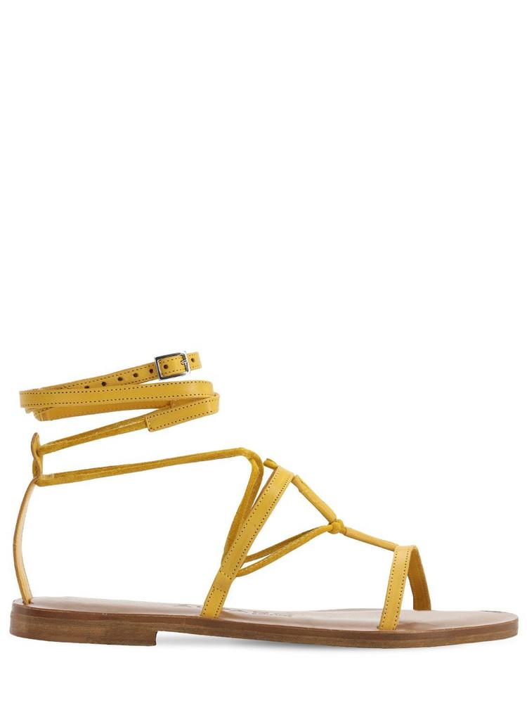ALVARO 10mm Leather T-bar Sandals in yellow