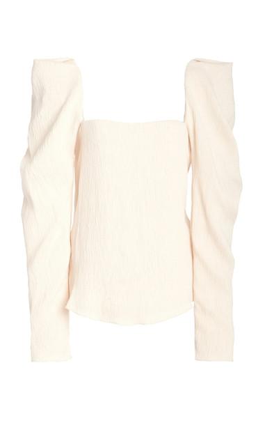 Johanna Ortiz Grass Like Sand Puffed-Sleeve Crepe Top in white