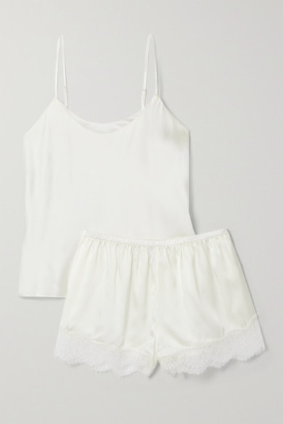 Cami NYC - The Perry Lace-trimmed Silk-blend Charmeuse Pajama Set - White