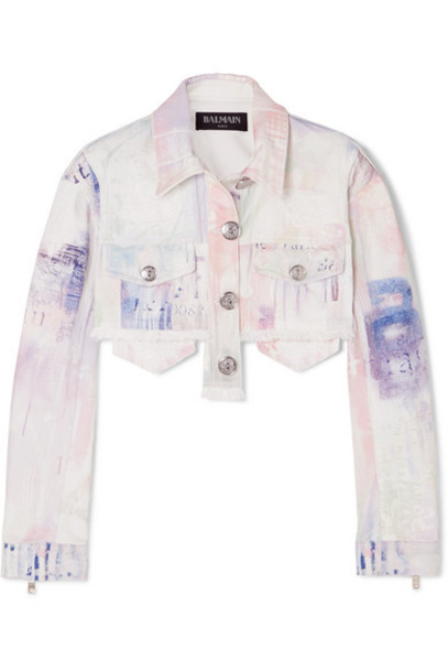 Balmain - Cropped Tie-dyed Denim Jacket - White