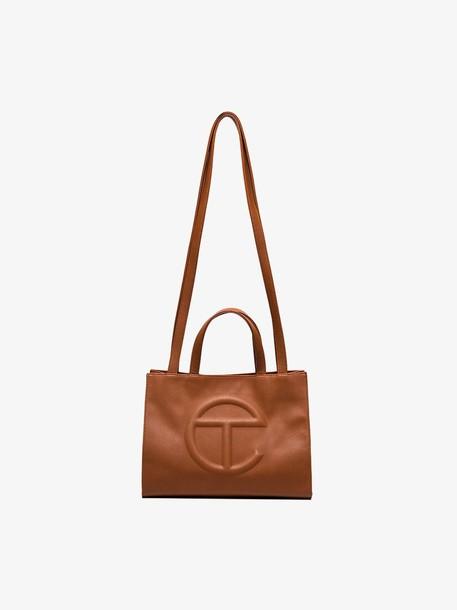 Telfar brown medium vegan leather shopping bag
