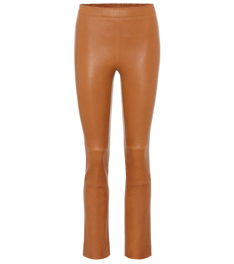Stouls Maria Rosa high-rise leather pants in brown