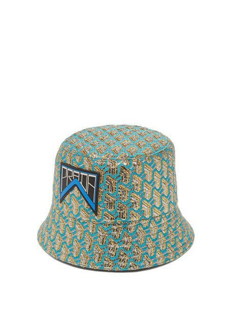 Prada - Geometric Jacquard Logo Patch Bucket Hat - Womens - Blue