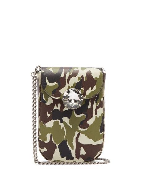 Miu Miu - Camouflage Print Mini Leather Cross Body Bag - Womens - Green Multi