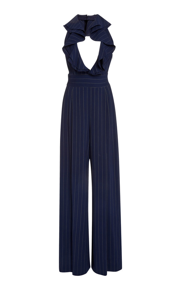 Ralph Lauren Alandra Ruffled Pinstriped Wool Jumpsuit in navy